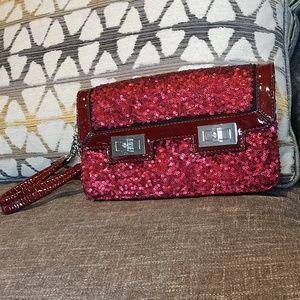 NWOT Red Sequin Wristlet, Eve bag/Vera Wang